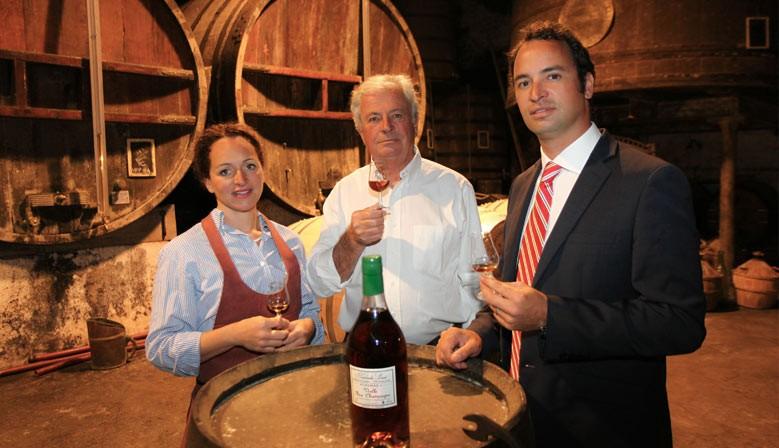 Cognac matures in oak barrels